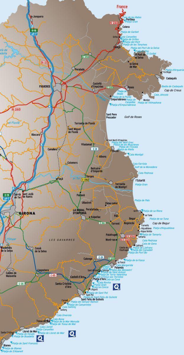 Costa Brava Espana Mapa.Calas Y Playas De La Costa Brava Hotel Aigua Blava
